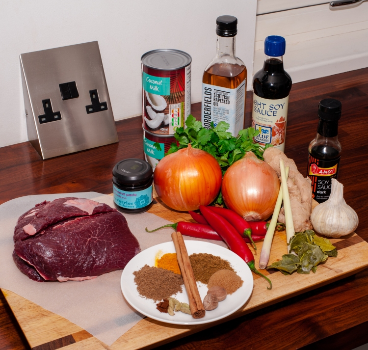 The ingredients used in our Beef Rendang - including 2 beautiful Ox Cheeks from The Buffalo Farm.